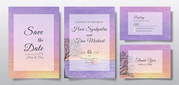 Aquarel bruiloft uitnodiging set met zonsondergang landschap