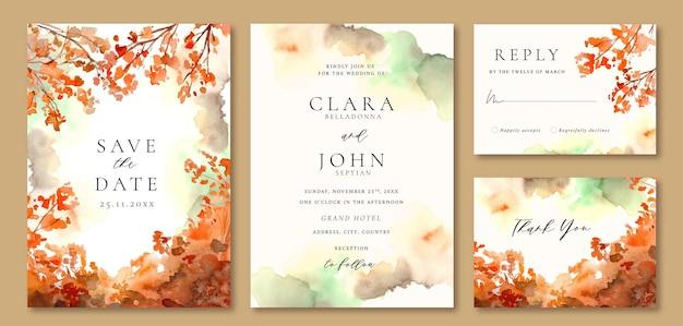 Aquarel bruiloft uitnodiging sjabloon herfstbladeren en abstracte bruine textuur