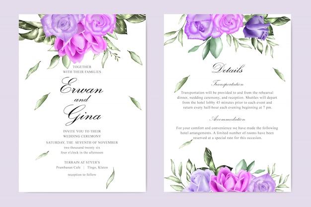 Aquarel bruiloft uitnodiging sjabloon kaart ontwerp