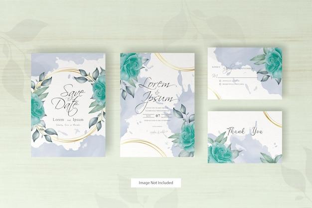 Aquarel bruiloft uitnodiging sjabloon met bloem en bladeren arrangement