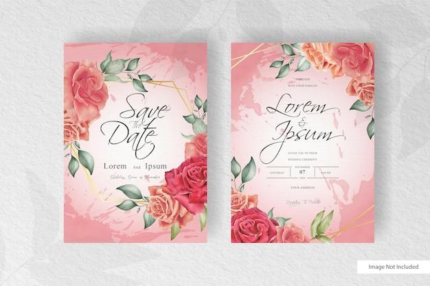 Aquarel bruiloft uitnodiging sjabloon met kleurrijke bloemen