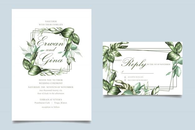 Aquarel bruiloft uitnodiging sjabloon