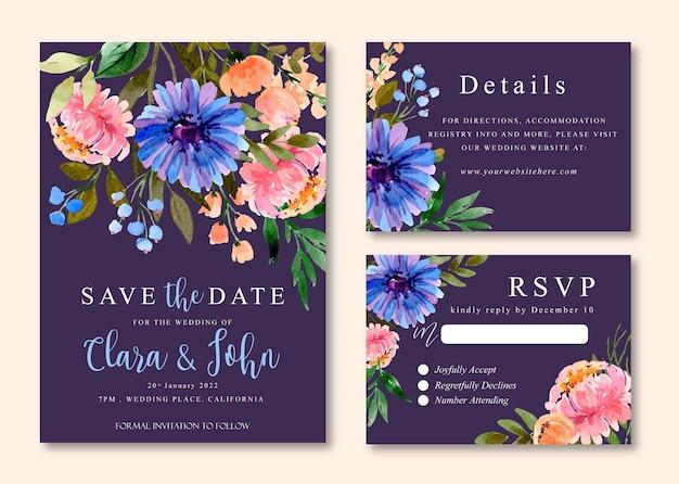 Aquarel bruiloft uitnodiging van paarse daisy en perzik pioenrozen
