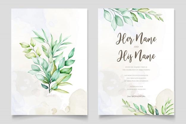 Aquarel bruiloft uitnodigingskaart in groene bladeren