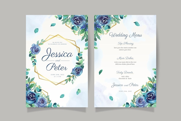 Aquarel bruiloft uitnodigingskaart met blauwe roos en gouden frame