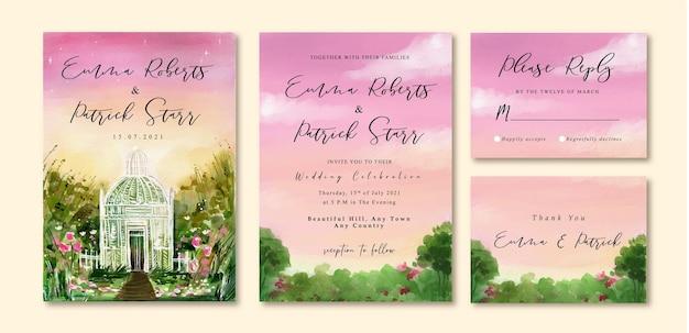 Aquarel bruiloft uitnodigingskaart met paarse avondrood en glazen huis in de tuin