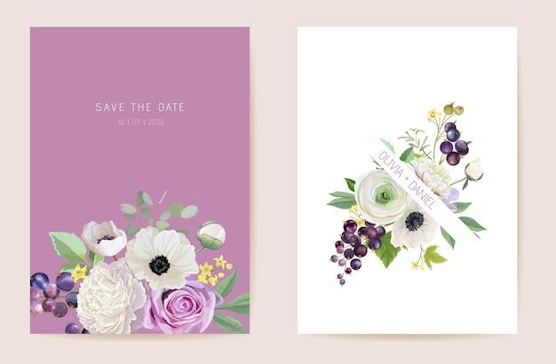 Aquarel bruiloft zwarte bessen bessen bloemen uitnodiging. berry, anemoon, pioenroos, roze bloemen, bladeren kaart. botanische save the date sjabloon vector, zomer cover, moderne poster, trendy design