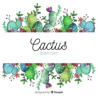 Aquarel cactus banners met lege banner