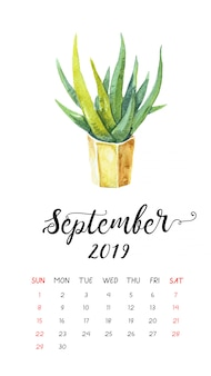 Aquarel cactuskalender voor september 2019.