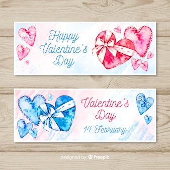 Aquarel cadeau valentijn banner collectie