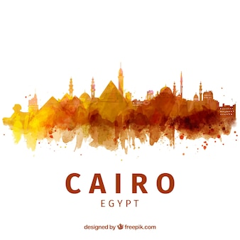 Aquarel cairo skyline met elegante stijl
