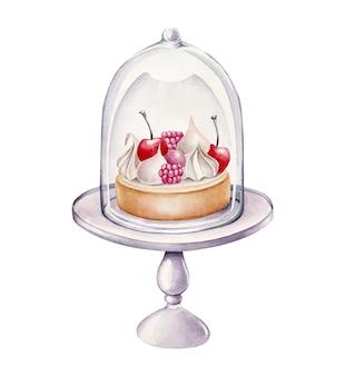 Aquarel cake op een stand geïsoleerd op wit