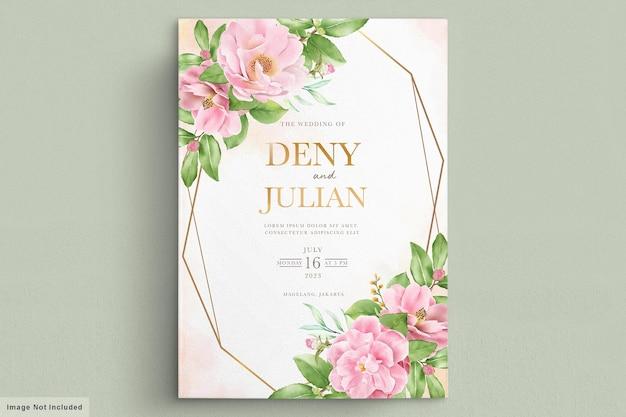 Aquarel camellia bloemen uitnodigingskaart
