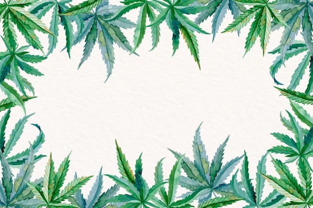 Aquarel cannabis blad achtergrond