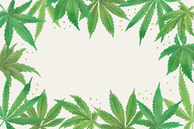 Aquarel cannabis blad behang met lege ruimte