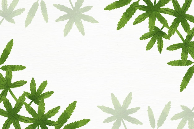 Aquarel cannabis blad behang