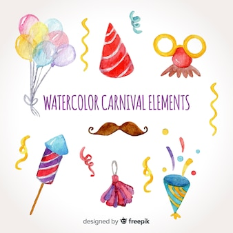 Aquarel carnaval element collectie