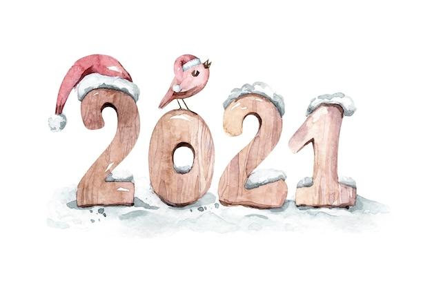 Aquarel cartoon afbeelding. 2021 met vogel en kerstmuts illustratie.