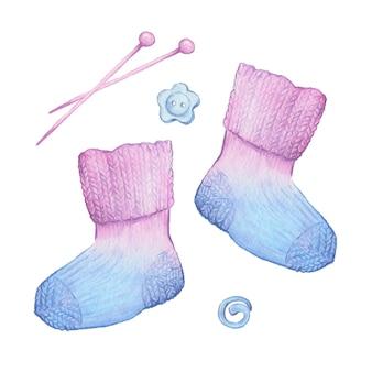 Aquarel cartoon sokken en breien accessoires. vector illustratie