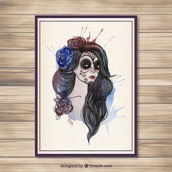 Aquarel catrina schedel poster
