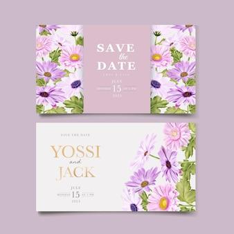 Aquarel chrysant bruiloft uitnodigingskaart