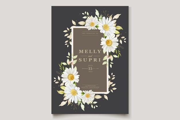 Aquarel chrysant zomer uitnodigingskaart