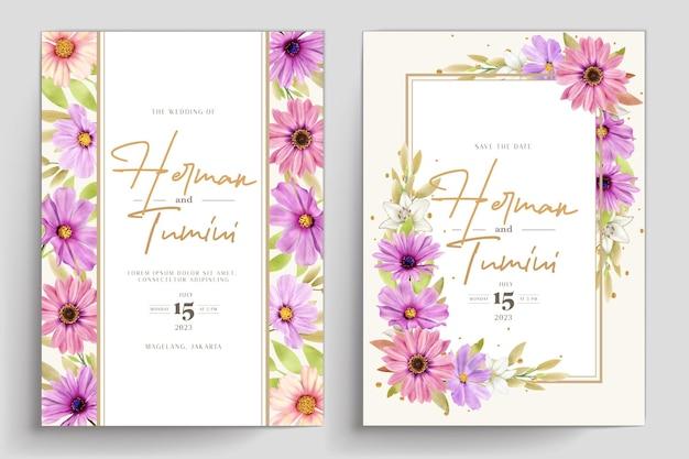 Aquarel chrysanthemum bruiloft uitnodigingskaart