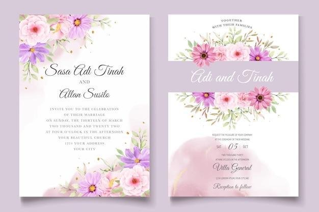 Aquarel chrysanthemum huwelijk uitnodigingskaart