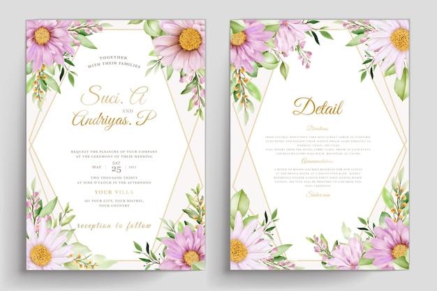 Aquarel chrysanthemum huwelijk uitnodigingskaarten set