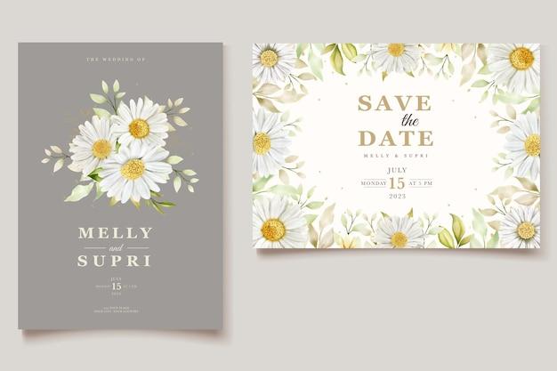 Aquarel chrysanthemum uitnodigingskaarten set
