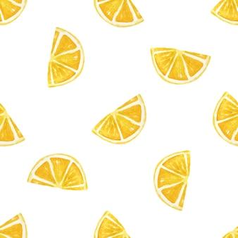 Aquarel citroenen witte achtergrond. naadloze patroon.