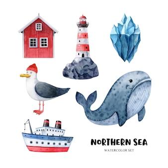 Aquarel clipart set met noordelijke zee symbolen zeemeeuw walvis schip ijsberg vuurtoren