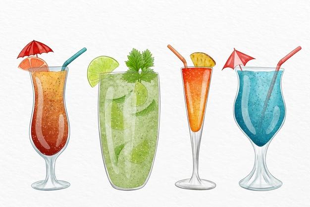 Aquarel cocktail illustratie collectie