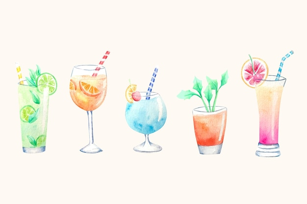 Aquarel cocktail illustratie collectie