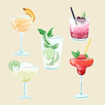 Aquarel cocktail illustratie pack