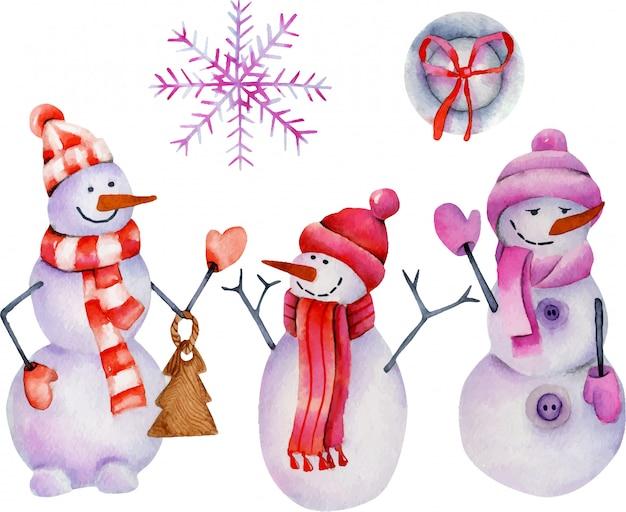 Aquarel collectie kerst sneeuwmannen en ornamenten