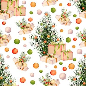 Aquarel collectie van kerstmispatroon