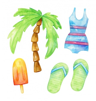 Aquarel collectie zomervakantie