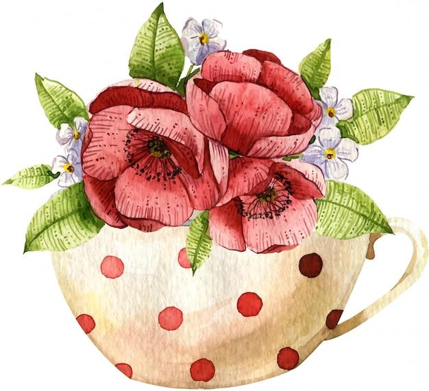 Aquarel compositie met theepot, beker en bloemen. handgeschilderde illustratie.