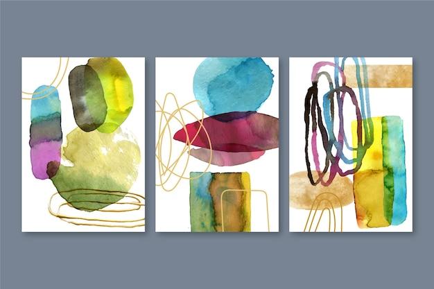 Aquarel covers set met verschillende vormen