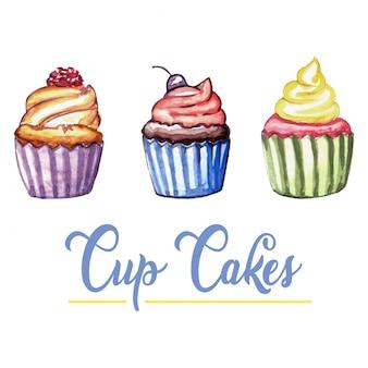 Aquarel cup cakes