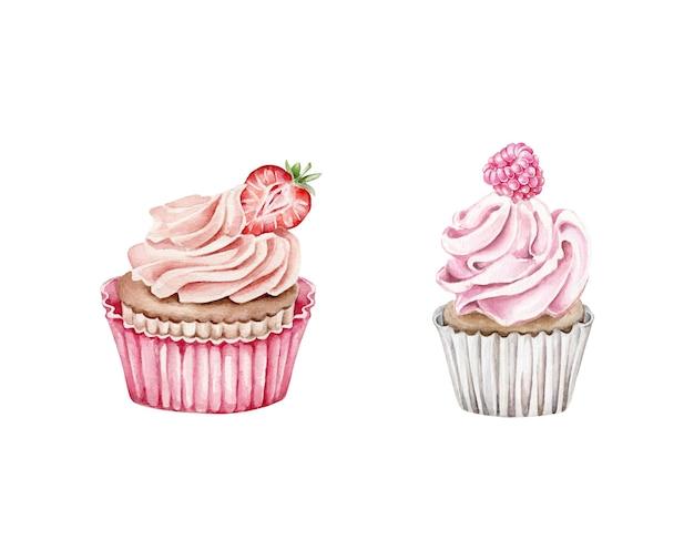Aquarel cupcakes versierd met bessen geïsoleerd