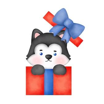 Aquarel cute cartoon husky hond voor kerstkaart.