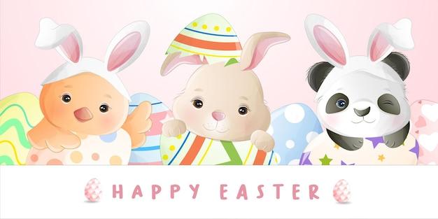 Aquarel cute cartoon klein konijn voor paasdag