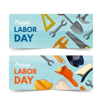 Aquarel dag van de arbeid banners instellen
