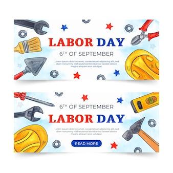 Aquarel dag van de arbeid horizontale banners set