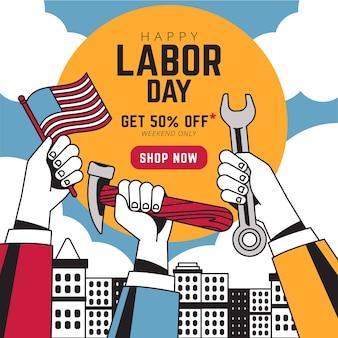 Aquarel dag van de arbeid verkoop banner