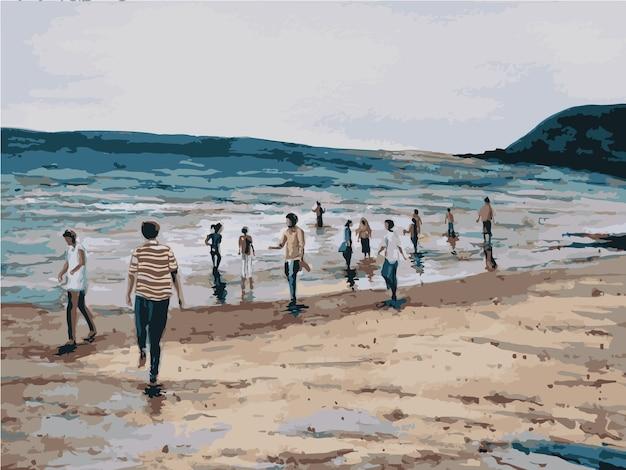 Aquarel de illustratie van het landschapsschilderij van de strandresort