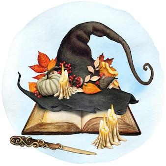 Aquarel decoratieve heksenhoed met herfstbladeren decoratie