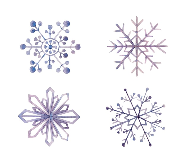 Aquarel decoratieve snowflkes geïsoleerd op wit